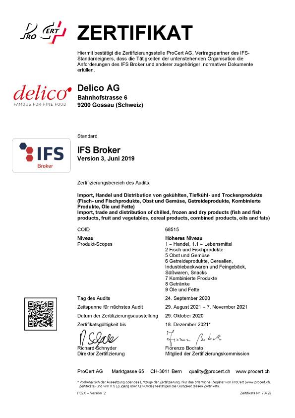 Ifs Broker Zertifikat Delico Ag 2020 D